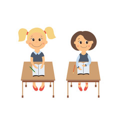 flat schoolgirls sitting at desk set vector image