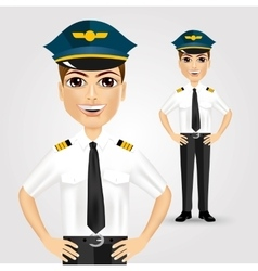 friendly pilot with hand on hips vector image