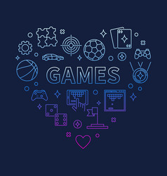 Games heart concept colorful outline vector