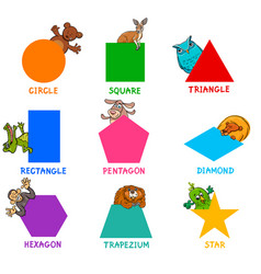 geometric shapes with animal characters vector image