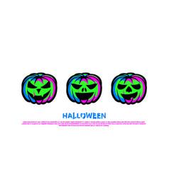 green neon pumpkin lantern set halloween night vector image