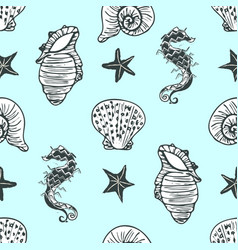 Hand drawn black and white seahorse starfish and vector