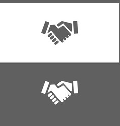 handshake icon on white and dark background vector image