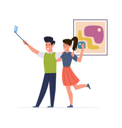 happy couple make selfie man and woman vector image