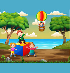 Happy kids playing on playground vector