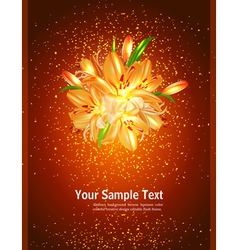 Holiday card with orange lilies on a brown vector