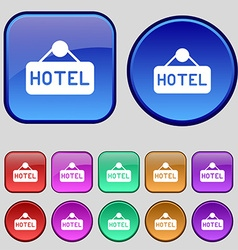 hotel icon sign A set of twelve vintage buttons vector image