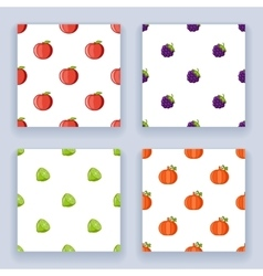 Icons set flat design fruit seamless pattern vector