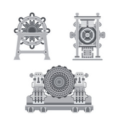industrial turbines set in flat style vector image