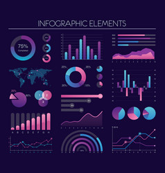 infographic elements with diagrams charts graphs vector image