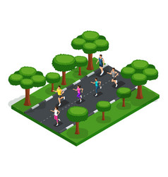 Isometric jogging in the park of young people vector