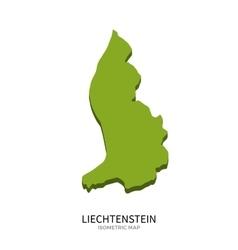 Isometric map liechtenstein detailed vector