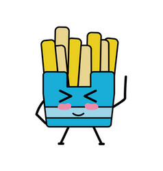 Kawaii cute funny fries french food vector