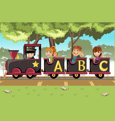 Kids riding alphabet train vector