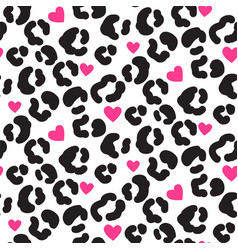leopard print pattern with spots and hearts black vector image