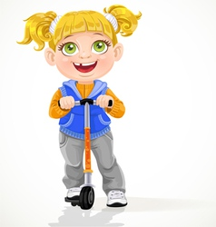Little girl with pigtails on scooter vector image
