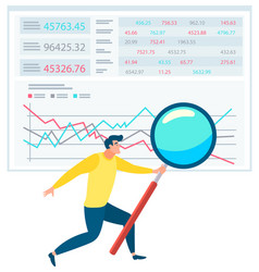 man standing near data chart with magnifying glass vector image