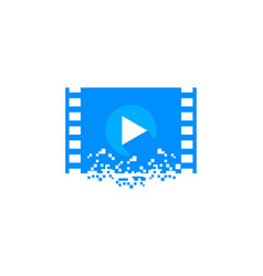 media player pixel logo vector image
