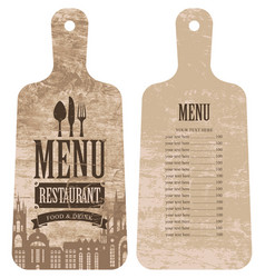 menu for the restaurant in the form cutting board vector image vector image
