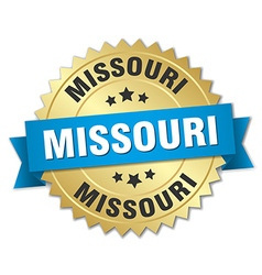 Missouri round golden badge with blue ribbon vector