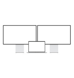 modern computer monitors and laptop mockup vector image