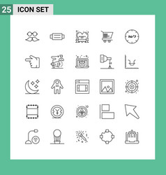 Modern set 25 lines pictograph care vector