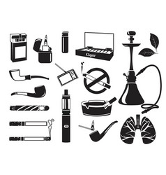 monochrome pictures hookah tobacco leaves vector image