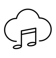 music cloud thin line icon pictogram vector image