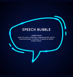 neon speech bubble and blank template for quotes vector image