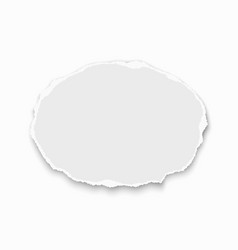 oval torn paper wisp with soft shadow isolated vector image