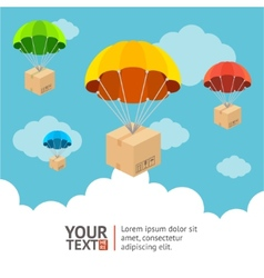 Parachute card vector