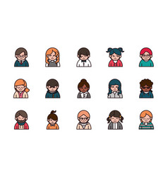 people cartoon characters avatar men and women set vector image