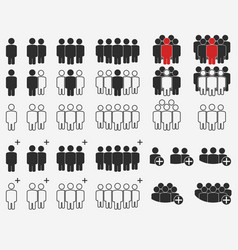 people crowd silhouette icons business team user vector image