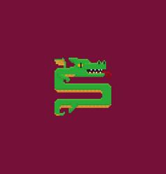 pixel art dragon vector image