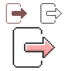 Pixel icon exit logout in three variants fully vector