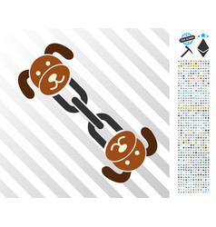 Puppy chain flat icon with bonus vector