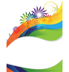 Rainbow flower frame vector image