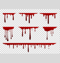 Red dripping stain liquid paint splash spooky vector