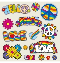 Retro hippie patches emblems vector image