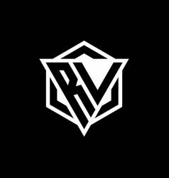 Rv logo monogram with triangle and hexagon shape vector
