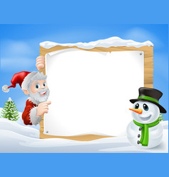 santa snowman cartoon sign vector image