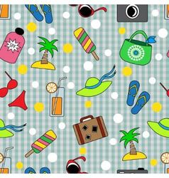 Seamless background with different beach items vector
