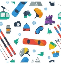 Seamless Pattern - Winter sport items vector image