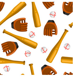 seamless pattern with baseball gloves balls vector image