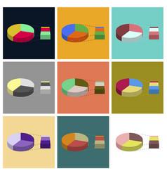 Set of flat icons on stylish background pie chart vector