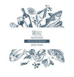 sketch card menu seafood vector image