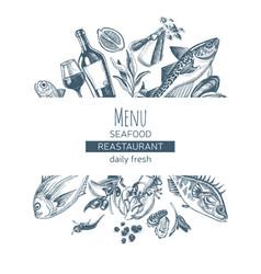 Sketch card menu seafood vector