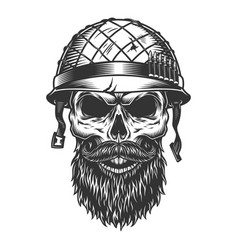 skull in the soldier helmet vector image