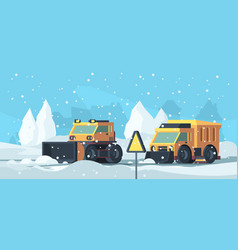 snow removal heavy trucks cleaning urban road vector image