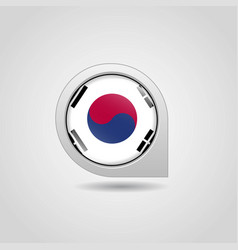 south korea flag map pin vector image